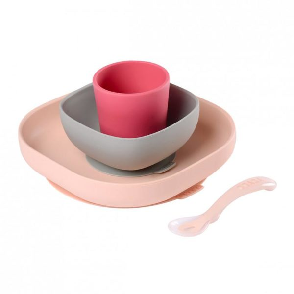 beaba-913429-4-set-vaisselle-silicone-4-pieces-rose